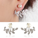 Trendy Women Rhinestone Leaf Pearl Silver Rose Gold Earrings