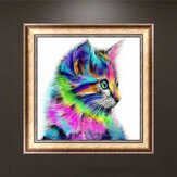 Honana WX-679 30x30cm 5D DIY Cross Stitch Colorful Cat Diamond Printing Embroidery Home Decor