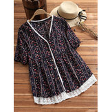 Original Women Vintage Floral V Neck Lace Patchwork Blouse