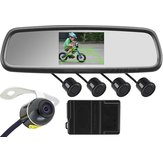 4.3 Inch Car Rear View Mirror + Butterfly Camera + 4 Search Radar + Complete Wiring Harness