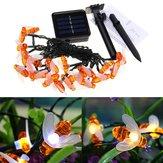 Solar Powered 5M 20LEDs Impermeable Honey Bee Fairy String Light para Garden Yard Christmas