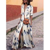 Women V Neck Short Sleeve Floral Printed Maxi Dress