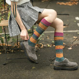Femmes fille Patchwork Harajuku Style Chaud Long Tube Chaussettes