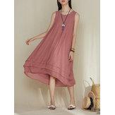 Original M-5XL Women Sleeveless Layered Pleated Dress