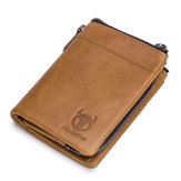 Bullcaptain Genuine Leather Plain Solid Wallet Card Holder