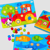 Wooden Mushroom Nail Puzzle Children Cartoon Jigsaw Kid Colorful Early Educational Toy Board