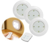 3pcs Télécommande sans fil LED Lumières de nuit Batterie Operated Stick-on Cabinet Lampes