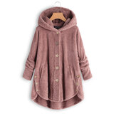 Plus Size Pure Color Hooded Fleece Coats For Women