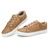 Men Summer Simple Design Breathable Pure Color Lace Up Casual Board Shoes