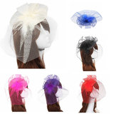 Bride Women Flower Feather Bead Mesh Fascinator Wedding Party Headpieces