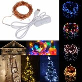 10M 100 Waterproof USB LED Fairy String Copper Wire HoliDay Light with Switch for Party Decor