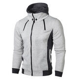 Men's Double Zipper Fit Hooded Casual Sweatshirt