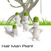 Mini White Grass Doll Hair Men Garden Plant Ceramic Bonsai Pots