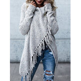 Women Winter Warm Long Sleeve Tassel Sweater Coats