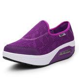 Mujeres Zapatos de Suelo de Balancín Casuales Corriendo Zapatos Deportivos de Resbalón de Lona