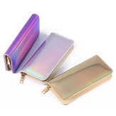 Multifunctional Women Laser PU Leather Long Wallet Card Purse Phone Bag for Phone under 6.5 inches