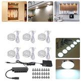 6pcs ronde LED sous meuble lumière kit cuisine étagère lampe comptoir bricolage