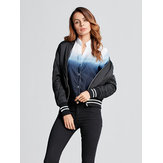 Plus Size Women Collar Zipper Bomber Jacket