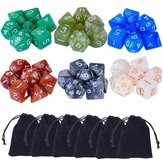 42 Pcs Polyhedral Board RPG MTG Game Dice 6 Sets 4D 6D 8D 10D 12D 20D + 6 Pouch