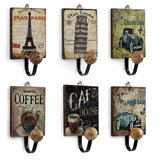 Retro European Cafe Bar Decor Wooden Clothes Towel Hanger Hook Wall Mounted