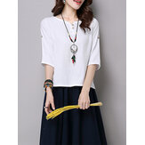 Vintage Women Button Loose Split Hem T-shirts