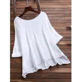 Women Brief O-neck Side Split Cotton Blouse