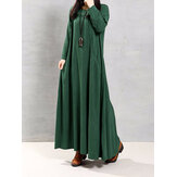 S-5XL Solid Color Maxi Dress