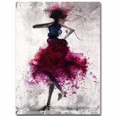Peinturesàl'huiledetoileart abstrait minimaliste de mode fille rouge encadré / sans cadre