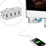 High Speed 5Gbps 4 USB 3.0 Ports Clip Design Aluminum Alloy USB Hub for PC iMac