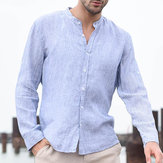 Original ChArmkpR Men's Linen Soft Striped Breathable Shirts