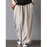 Pantalon large taille haute pour femmes, taille élastique