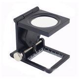 10X Zinc Alloy Metal Folding Mini Magnifier Scale Pouch with Double LEDs