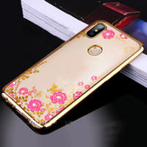 Bakeey Diamond Plating Clear Soft TPU Flower Protective Case For Xiaomi Redmi Note 6 Pro