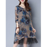Elegant Women Long Sleeve Blue Flowers Printed Mesh Patchwork Dresses