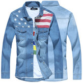 Washed Denim Long Sleeve Slim Fit Spring Autumn Men Shirt Thin Coat