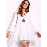 Plus Taille Sexy Women Lace Tassels Crochet Mini-robe