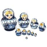 Poupées Russes 10pcs Kit Bleu Peintes à la Main