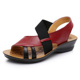 Hollow Out Slip On cuero plano Sandalias