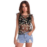 Sexy Floral Embroidered See-through Crew Neck T-shirts