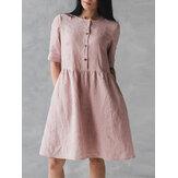 Robe vintage en coton à manches courtes
