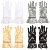 Women Bride Sexy Lace Gloves Full Finger Evening Wedding Party Prom Driving Costume Accessories