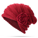 Original Mujer Flor flexible Slouch Tejer Sombrero Earmuffs Beanie Cap