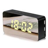 LoskiiAlarmadeespejoRelojControl de voz con repetición USB Maquillaje Espejo LED Color Reloj