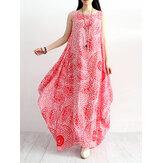 Robe sans manches en coton à imprimé floral et col rond pour femmes