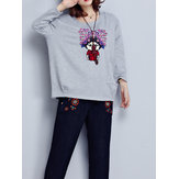 Original Women Cartoon Print Long Sleeves Blouse with Pocket