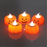 Battery Operated Warm White Pumpkin Spider Pattern LED Candle Lantern Holiday Light Halloween Decor