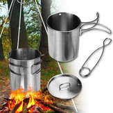 750ml Portable Outdoor Camping Water Cup Water Mug Picnic Food Pot With Foldable Handle Hook