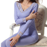 Women Modal Lace Seamless Double V-neck Thermal Underwear Set