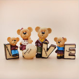 4pcs/set Love Carton Teddy Bear Resin Doll Car Interior Decoration Figurine Home Craft Decorations Cartoon Bears Car Dolls Decor Accessories Furnishing Fashion Couple Gift
