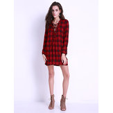 Sexy Women Lace-Up Side Split Loose Shirt Dress
